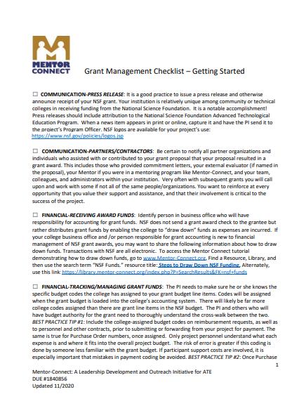 Grant Management Checklist
